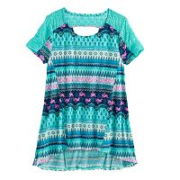Girls 7-16 Plus Size Mudd® Lace-Pieced Keyhole Swing Tee