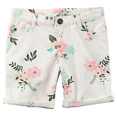Toddler Girl Carter's Floral Rolled-Cuff Midi Twill Shorts