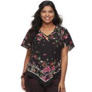 Juniors' Plus Size HeartSoul Floral Handkerchief Top