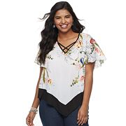 Juniors' Plus Size HeartSoul Floral Handkerchief Top