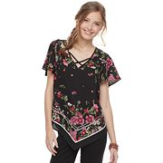 Juniors' HeartSoul Floral Handkerchief Top