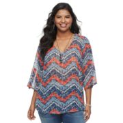 Juniors' Plus Size HeartSoul Chevron High-Low Top & Necklace