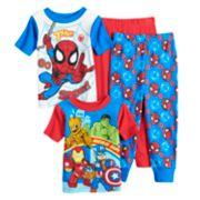 Toddler Boy Marvel Spider-Man, Hulk, Groot, Iron Man & Captain America Top & Bottoms Pajama Set