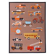 World Rug Gallery La Jolla Kids Play Transportation Vehicle Rug - 5' x 7'