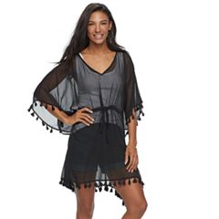 SONOMA Goods for Life™ Sheer Chiffon Tassel & Drawstring Poncho