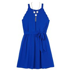 Girls 7-16 IZ Amy Byer Scalloped Armhole A-Line Dress with Necklace