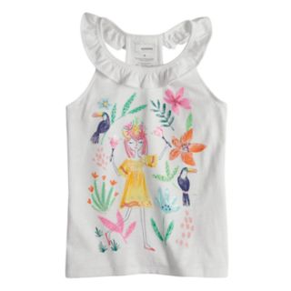 Girls 4-12 SONOMA Goods for Life? Embellished Graphic Ruffle Tank Top
