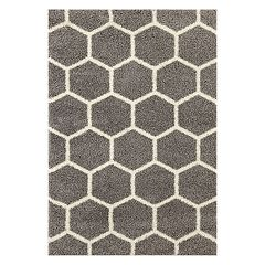 World Rug Gallery Florida Geometric Honeycomb Geometric Shag Rug