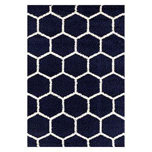 World Rug Gallery Florida Geometric Honeycomb Geometric Shag Rug