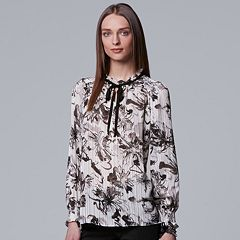 Women's Simply Vera Vera Wang Print Tie-Neck Top