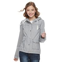 Juniors' SO® Hooded Utility Jacket