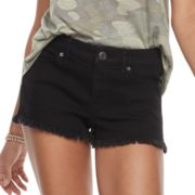 Juniors' Mudd® Fray Hem Jean Shortie Shorts