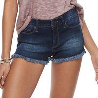 Juniors' Mudd® Fray Hem Jean Shortie Shorts