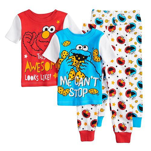 b292456f30 Toddler Boy Sesame Street Elmo   Cookie Monster Tops   Bottoms Pajama Set