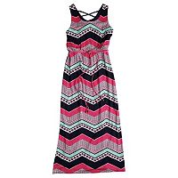 Girls 7-16 Three Pink Hearts Chevron Crisscross Maxi Dress