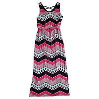 Girls 7-16 Three Pink Hearts Chevron Crisscross Maxi Dress