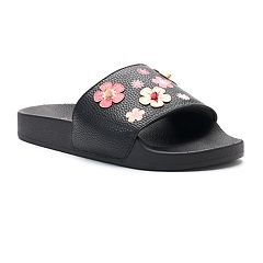 Candie's® Women's Floral Print & Applique Slide Sandals