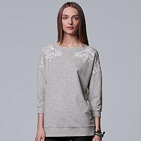 Women's Simply Vera Vera Wang Floral Embroidered Sweatshirt