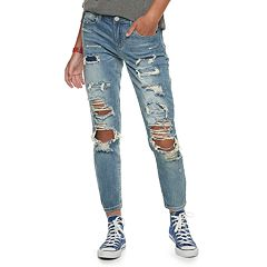 Juniors' Almost Famous Mid-Rise Destructed Skinny Jeans
