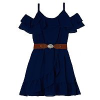 Girls 7-16 IZ Amy Byer Cold Shoulder Ruffled Belted Dress