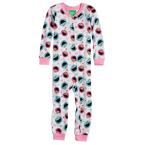 1bfe02ad9d8f Toddler Girl Sesame Street Elmo   Cookie Monster Footless Pajamas