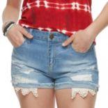 Juniors' Tinseltown Crochet Pocket Denim Shorts