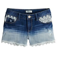 Girls 7-16 & Plus Size Mudd® Crochet Trim Denim Shorts