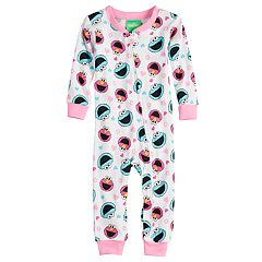 Baby Girl Sesame Street Elmo & Cookie Monster Footless Pajamas