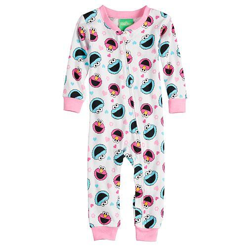 Baby Girl Sesame Street Elmo & Cookie Monster Footless Pajamas