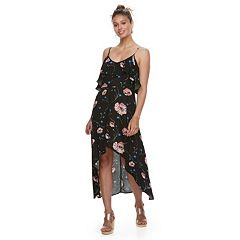Juniors' Rewind Floral Ruffled High-Low Maxi Dress