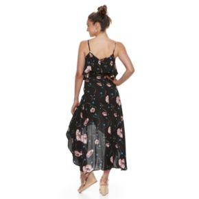 Juniors' Rewind Floral Ruffled High-Low Maxi Dress