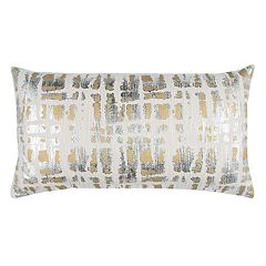 Rizzy Home Doh Abstract Metallic Oblong Throw Pillow