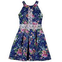 Girls 7-16 IZ Amy Byer Crochet Detail Floral Scuba Dress