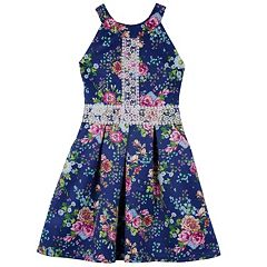 Girls 7-16 IZ Amy Byer Crochet Detail Floral Scuba Dress
