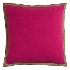 Rizzy Home Solid Burlap Edged Throw Pillow