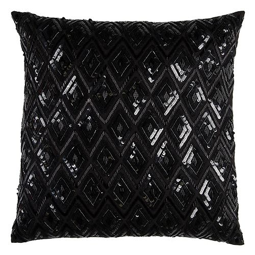 Rizzy Home Diamond Textured Sequins Throw Pillow