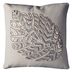 Rizzy Home Leaf Pattern Sequins Throw Pillow