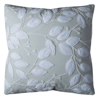 Rizzy Home Botanical Leaf Applique Throw Pillow
