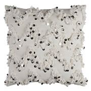 Rizzy Home Chevron Textured Sequins Fringed Throw Pillow