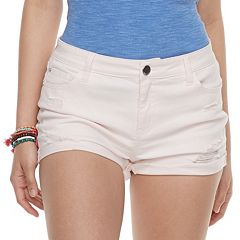 Juniors' Pink Republic Cuffed Denim Shorts