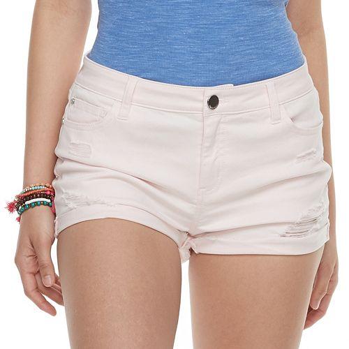 Juniors' Pink Republic Cuffed Denim Shorts