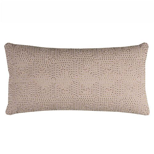 Rizzy Home Geometric Beaded Oblong Throw Pillow