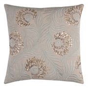 Rizzy Home Beaded Embellished Feathers Throw Pillow
