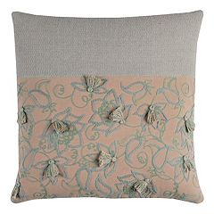 Rizzy Home Blocked Floral Tassels Throw Pillow