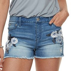 Juniors' Tinseltown Midrise Tonal Floral Embroidered Jean Shorts