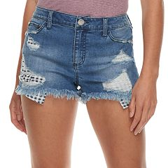 Juniors' Tinseltown Midrise Exposed-Pocket Jean Shorts