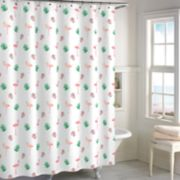Destinations Palm Leaf Flamingo Shower Curtain