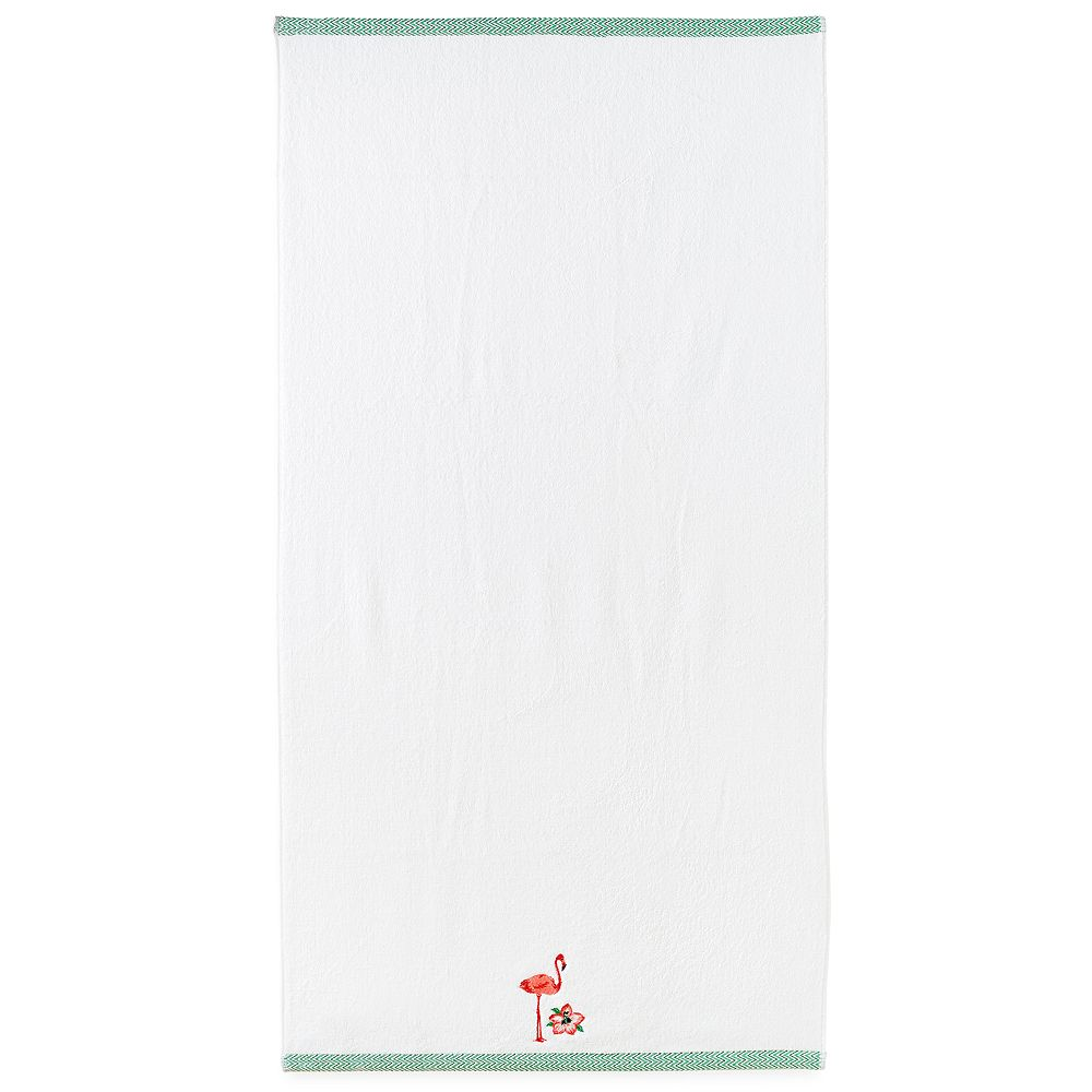 Destinations Palm Leaf Flamingo Bath Towel