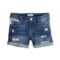 Girls 7-16 & Plus Size Mudd® Distressed Lace Trim Rolled Cuff Denim Shorts