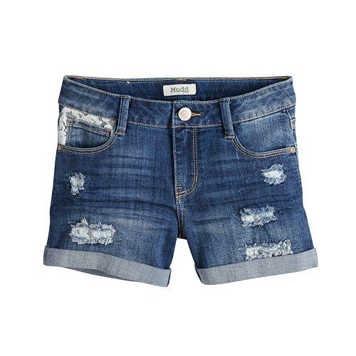8ea9d05ff3e Girls 7-16   Plus Size Mudd® Distressed Lace Trim Rolled Cuff Denim Shorts